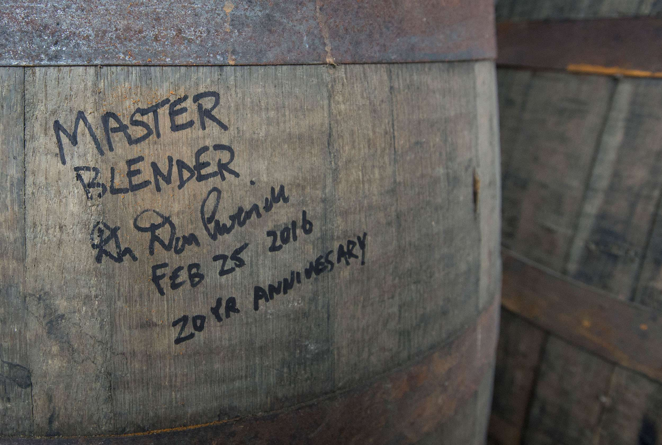 Don Livermore's signature on a whisky barrel at Hiram Walker. (Laura Pedersen/National Post)